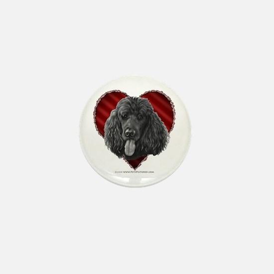 Black Poodle Valentine Mini Button