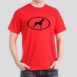 Doberman Pinscher Oval Dark T-Shirt