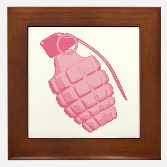 Pink Grenade Framed Tile