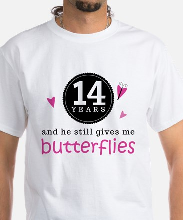 14th Anniversary Butterflies Women's Light T-Shirt