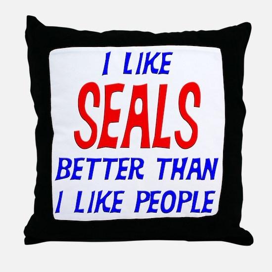I Like Seals Throw Pillow