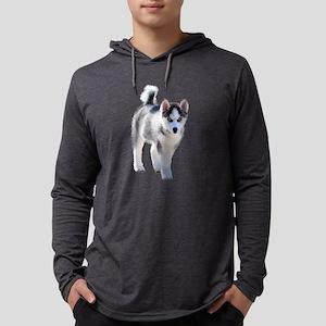 Female Husky Puppy Mens Hooded Shirt