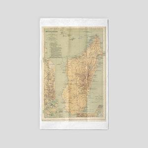 Vintage Map of Madagascar (1896) Area Rug
