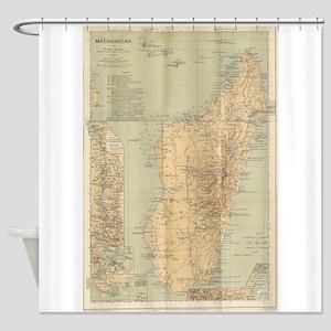Vintage Map of Madagascar (1896) Shower Curtain