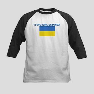 I LOVE BEING UKRAINIAN Kids Baseball Jersey
