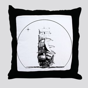 Tall Ship and Star Throw Pillow