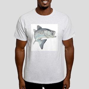 Lunker's Stripe Bass Ash Grey T-Shirt