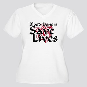 Blood Donors Save Lives Women's Plus Size V-Neck T