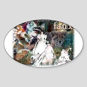 Ladies Prefer Their Fur Faux Oval Sticker