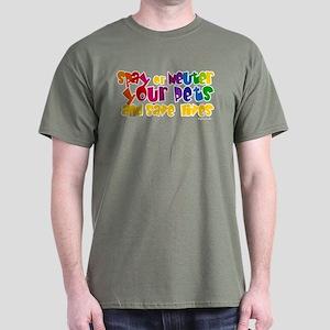 Spay Neuter Rainbow Dark T-Shirt