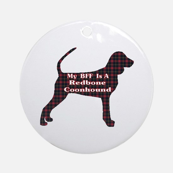 BFF Redbone Coonhound Ornament (Round)