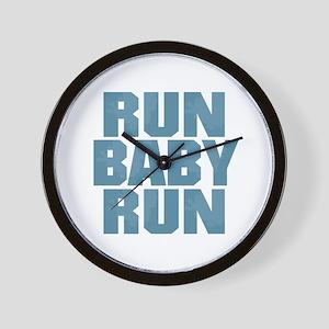 Run Baby Run - Blue Wall Clock
