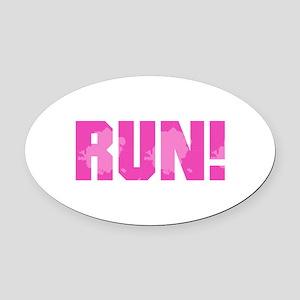 RUN - Pink Oval Car Magnet