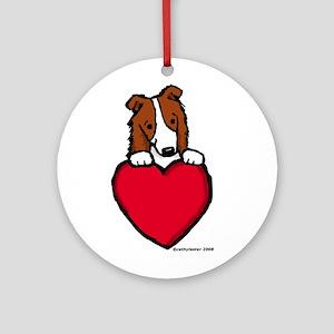 Red Border Collie Valentine Ornament (Round)