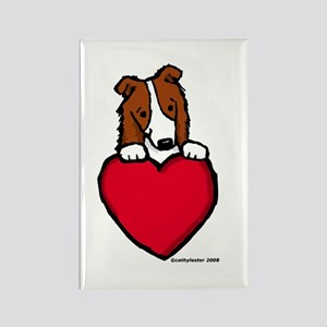 Red Border Collie Valentine Rectangle Magnet