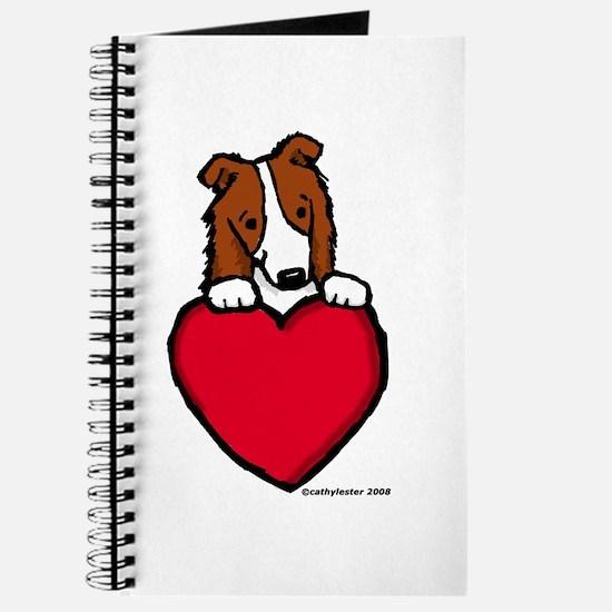 Red Border Collie Valentine Journal