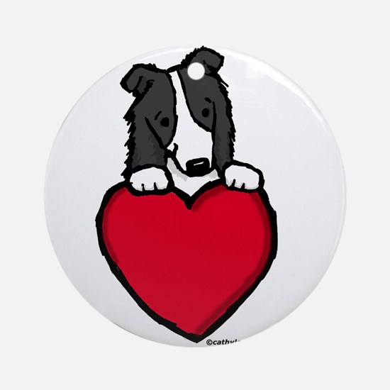 Black Border Collie Valentine Ornament (Round)