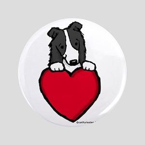 """Black Border Collie Valentine 3.5"""" Button"""