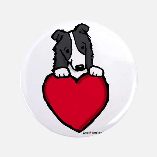 "Black Border Collie Valentine 3.5"" Button"