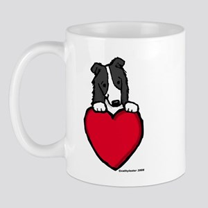 Black Border Collie Valentine Mug