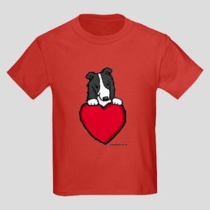 Black Border Collie Valentine Kids Dark T-Shirt