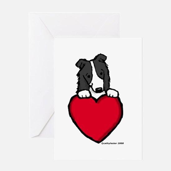 Black Border Collie Valentine Greeting Card