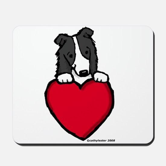 Black Border Collie Valentine Mousepad
