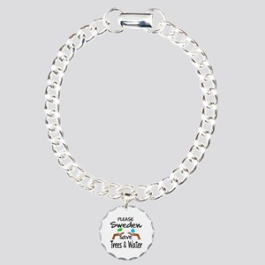 Please Sweden Save Trees Charm Bracelet, One Charm