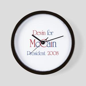 Devin for McCain 2008 Wall Clock