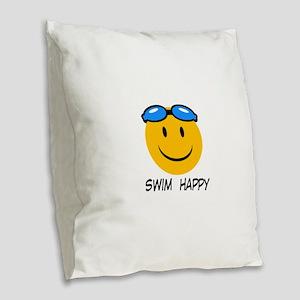 swimming Burlap Throw Pillow
