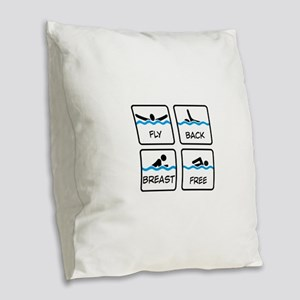 swimming Burlap Throw Pillow