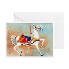 Carousel white Horse Greeting Cards (Pk of 20)