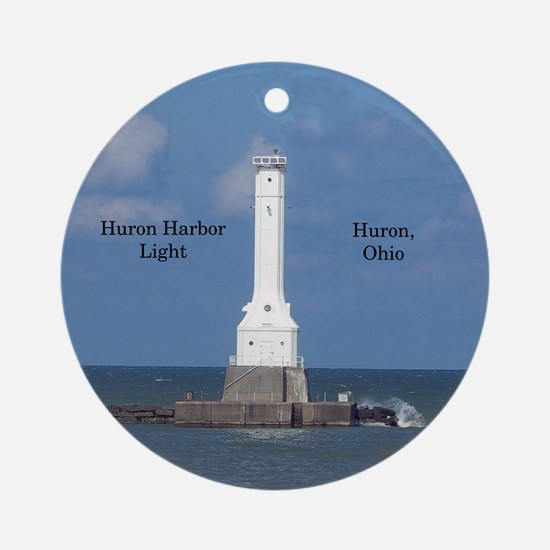 Huron Harbor Light Round Ornament