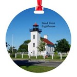 Sand Point Lighthouse Escanaba Round Ornament