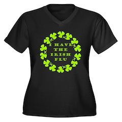 Irish Flu Women's Plus Size V-Neck Dark T-Shirt