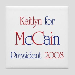 Kaitlyn for McCain 2008 Tile Coaster