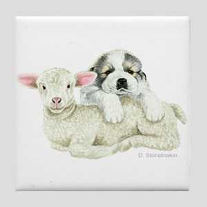 Great Pyr Pup and Lamb Decorative Tile