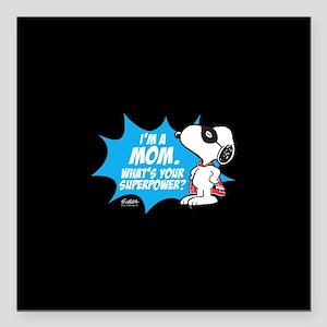 "Peanuts Super Mom Square Car Magnet 3"" x 3"""