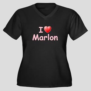 I Love Marlon (P) Women's Plus Size V-Neck Dark T-