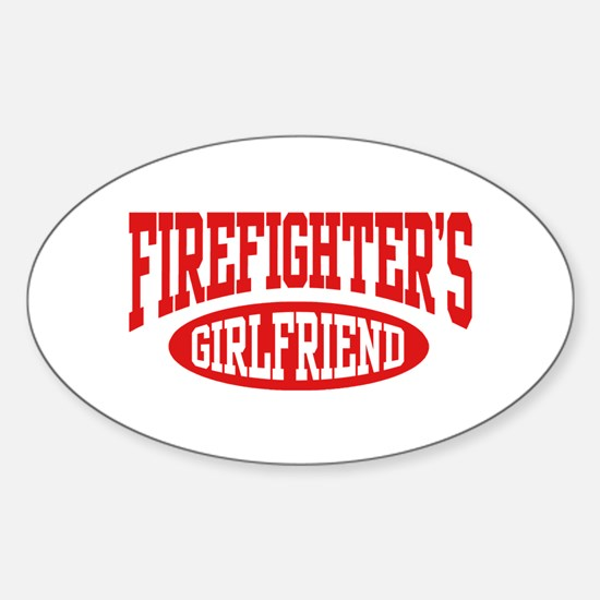 Firefighter's Girlfriend Oval Decal