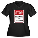 Stop Blocking Women's Plus Size V-Neck Dark T-Shir