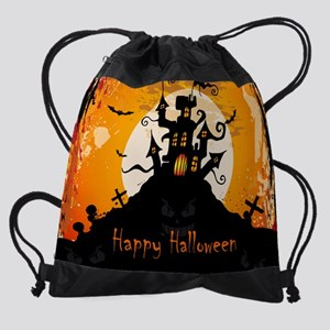 Castle On Halloween Night Drawstring Bag