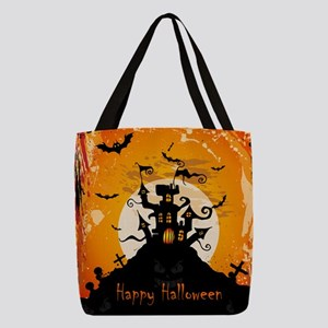 Castle On Halloween Night Polyester Tote Bag