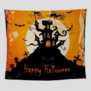 Castle On Halloween Night Wall Tapestry