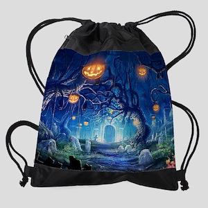 Halloween Night In Cemetery Drawstring Bag