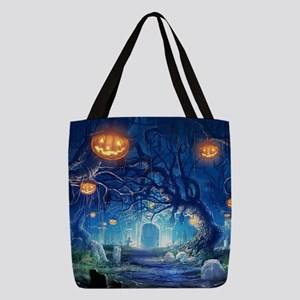 Halloween Night In Cemetery Polyester Tote Bag