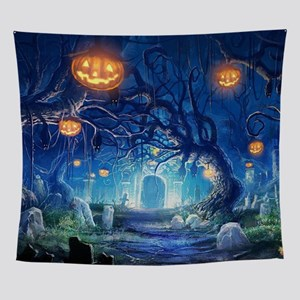 Halloween Night In Cemetery Wall Tapestry
