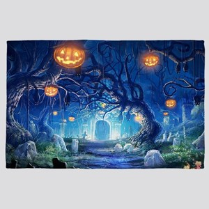 Halloween Night In Cemetery 4' x 6' Rug