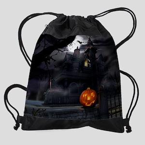 Halloween Pumpkin And Haunted House Drawstring Bag