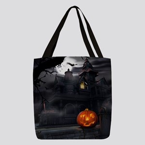 Halloween Pumpkin And Haunted H Polyester Tote Bag